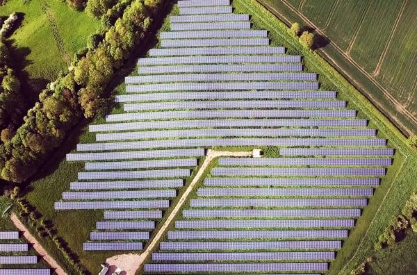 aerial view of solar pv plant