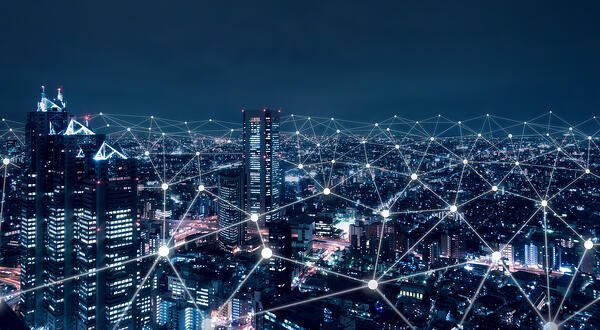 electrical grid concept in big city