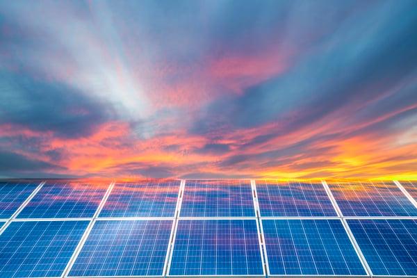 solar panels in beautiful sky
